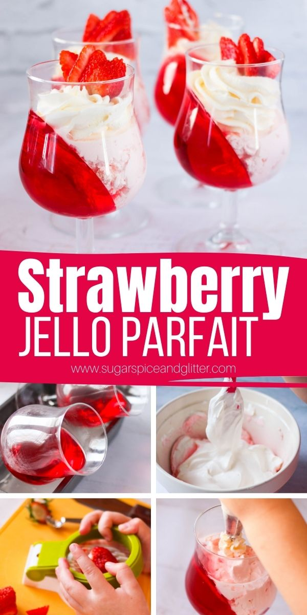 How to make a layered strawberry Jello Parfait, a fun Valentine's Day dessert that kids can make almost completely independently! These 3-ingredient parfaits feature strawberry Jello, a cheater mousse and whipped cream topping for a dessert that tastes like a cheater cheesecake