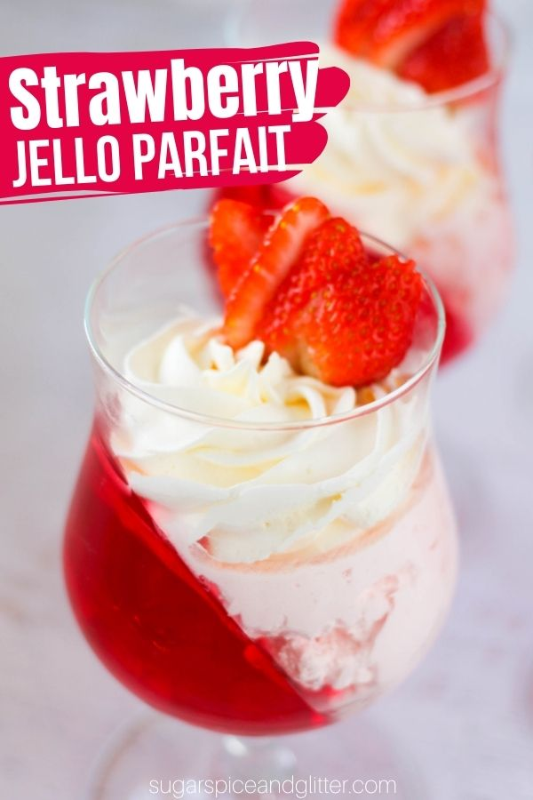 A fun Jello Parfait recipe for Valentine's Day, this strawberry Jello Parfait is a super simple no-bake dessert for kids to make and tastes like a cheater strawberry cheesecake.