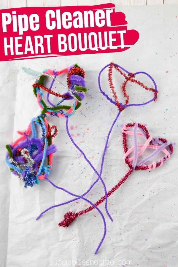 An easy fine motor craft for kids, these Pipe Cleaner Heart Flowers are a great way for kids to build finger strength and dexterity while being creative.