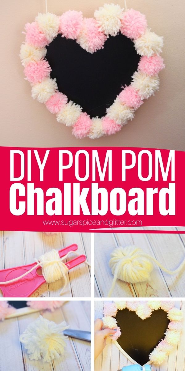 How to make a DIY pom pom chalkboard to add a bit of romance and whimsy to your decor. Whether for Valentine's Day, an anniversary, or just a special way to spread love all year round, this shabby chic DIY chalkboard is the perfect place to write all your little love notes or cheeky sayings.