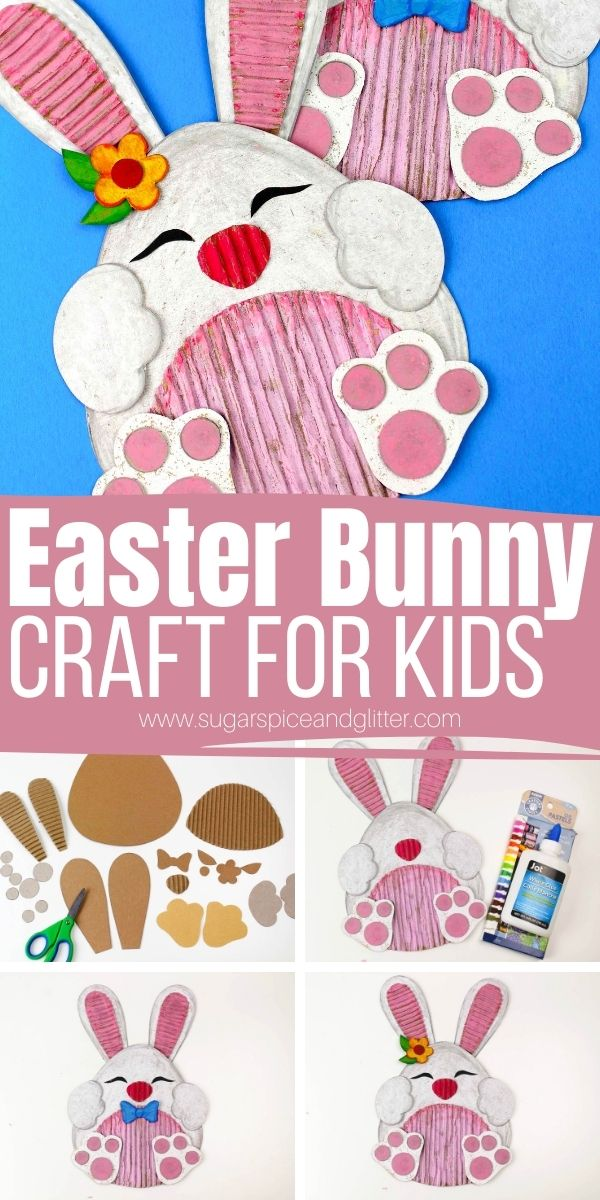 How to make Cardboard Easter Bunny Crafts with kids using our free printable Easter template. A great Easter craft using materials you already have on hand - including recycled cardboard. These cute bunnies can be personalized with different paint colors or unique embellishments