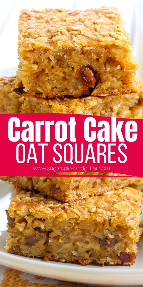 How to make carrot cake oat squares at home with less sugar and hidden veggies, these sticky sweet squares have a gorgeous golden crunch outside and chewy, satisfying texture inside with a delicious carrot cake-inspired flavor that is oh-so satsifying