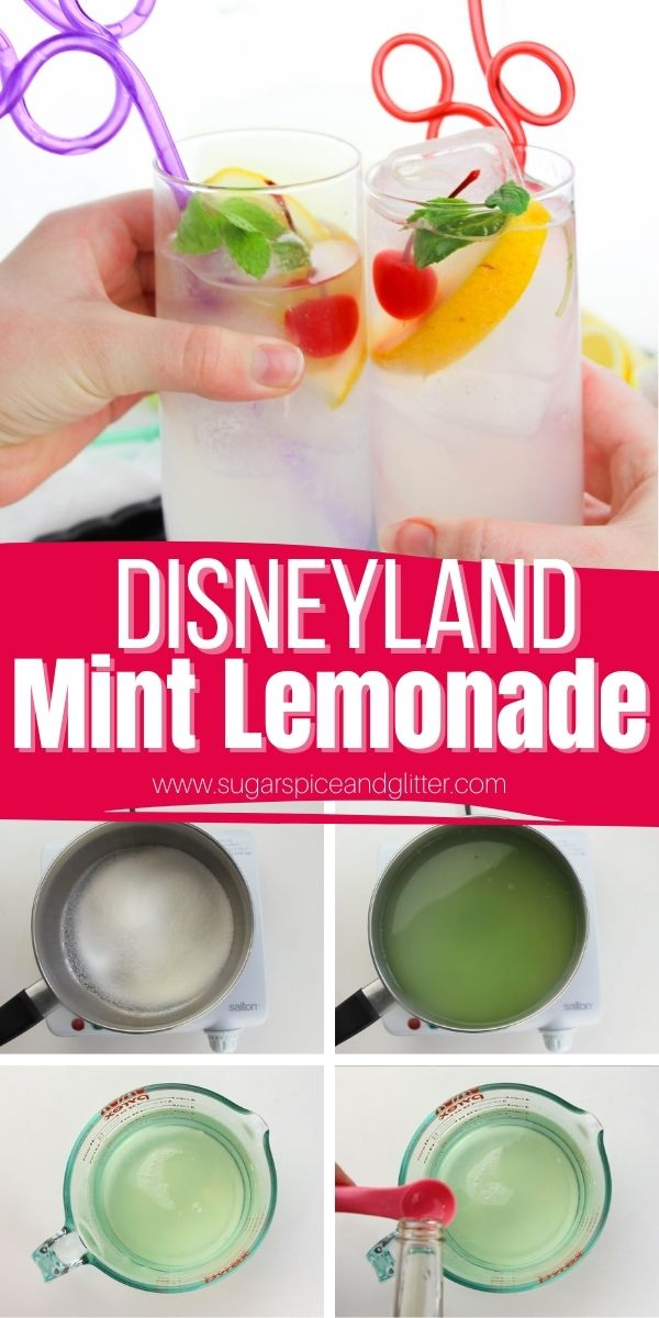 How to make Disney's mint julep lemonade, a refreshing, sweet and tart lemonade that is alcohol-free, so the whole family can enjoy it! This recipe requires no fancy ingredients and is super simple to make for a Disney movie night or enjoying out in the sun