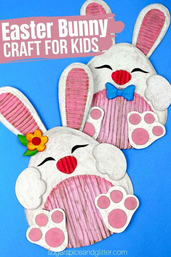 A super simple Easter craft for kids using repurposed cardboard, this Easter Bunny craft is super easy to make thanks to our free printable template and can be made into an Easter card, wall hanging or magnet.