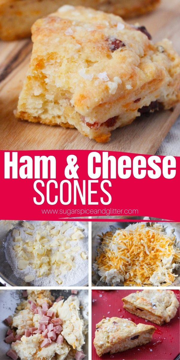 How to make ham and cheese scones with leftover ham (or bacon). These savory scones are the perfect addition to a special brunch spread or just make them as a grab-and-go breakfast during the week that tastes like they came straight from the bakery