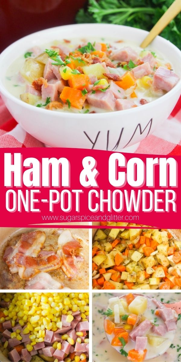 How to make corn chowder with ham using leftover ham. Sweet corn, salty ham and flavorful, creamy broth combine to make a cozy, comforting bowl of soup that the whole family will love