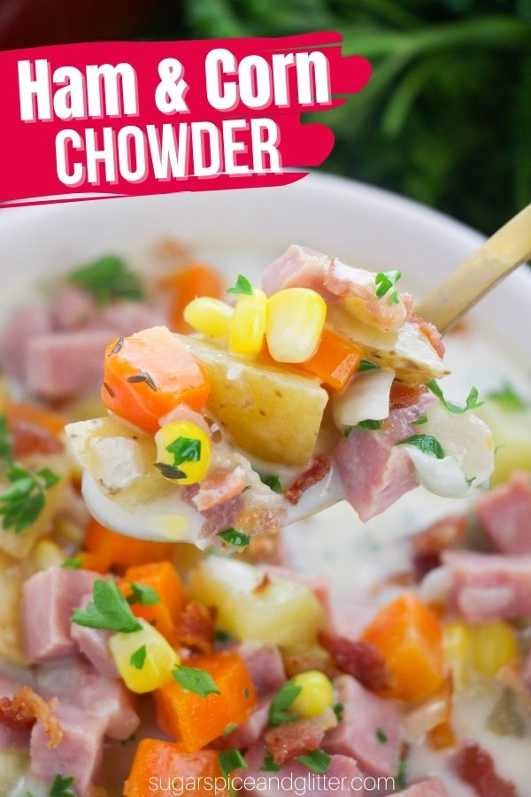 A delicious corn chowder with ham is the perfect way to use up leftover ham. The sweetness of the corn with the saltiness of the ham is sheer perfection when enveloped in that creamy, flavorful broth. You can add some heat with a dash of cayenne or hot sauce, if desired.