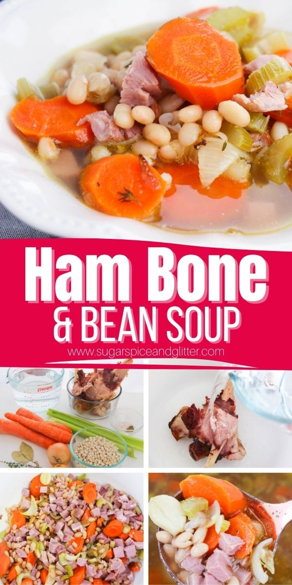 How to make ham bone and bean soup - the best use for leftover ham bones after the holidays. This comforting soup recipe is an inexpensive way to make the most of a few classic kitchen staples and makes a ton - perfect for big families or potlucks