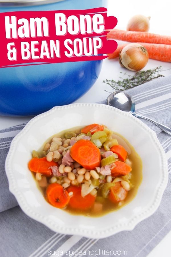 A delicious way to use up a leftover ham bone, this ham and bean soup is filling, comforting and uses classic pantry staples for an inexpensive meal that can serve a crowd.