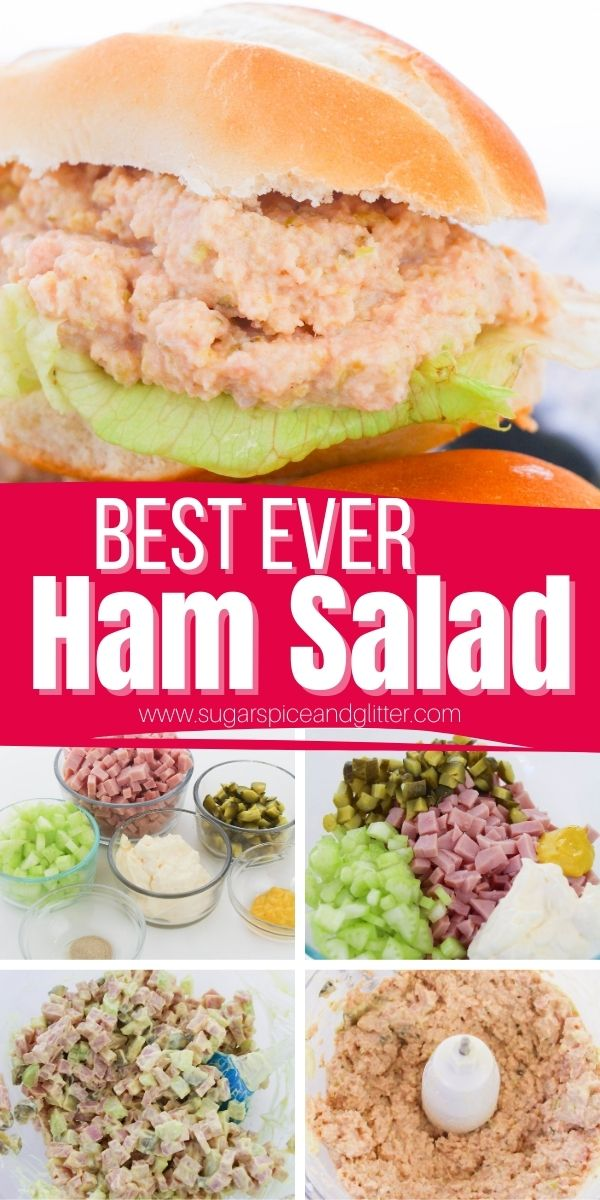 How to make the Best Ever Ham Salad: this classic sandwich spread is the perfect combination of salty ham, tangy pickles, hot mustard and creamy mayonnaise. It also works great as a low-carb veggie dip and is the perfect leftover ham recipe