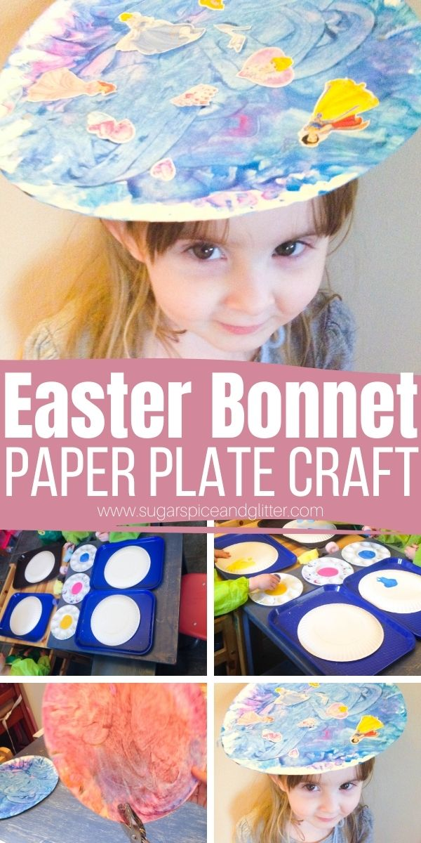 How to make a Paper Plate Easter Bonnet, a super simple Easter craft perfect if you have a mixed age group. This simple Easter craft for kids can be made with whatever crafts ends you have lying around and then the kids can put on their own Easter parade