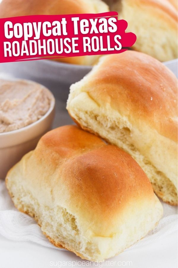 The perfect copycat Texas Roadhouse Rolls and Cinnamon Honey Butter, the perfect side dish for brunch, lunch or dinner. You might want to double the recipe because just like at the restaurant, these perfect, soft, fluffy rolls will disappear quickly!