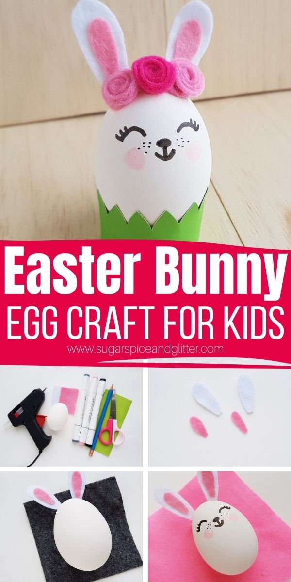 How to make a Bunny Easter Egg craft, a whimsical addition to your Easter decor. This simple kids' Easter craft is made even easier with our free printable craft template
