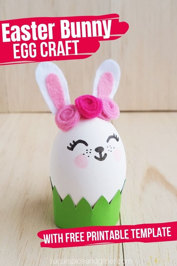 A fun and easy Bunny Easter Egg craft for a whimsical new way to decorate your Easter Eggs. Grab the free printable template to make your crafting experience even easier