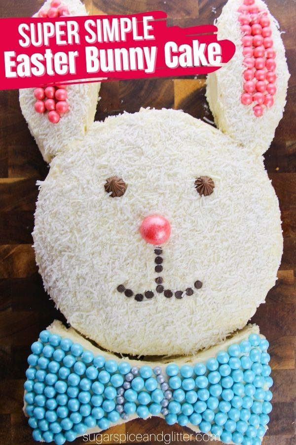 A step-by-step tutorial for how to make this super simple Easter Bunny Cake using two round cakes. This classic Easter cake involves no fancy decorating skills or equipment and is easy enough to make with the kids to create special family memories