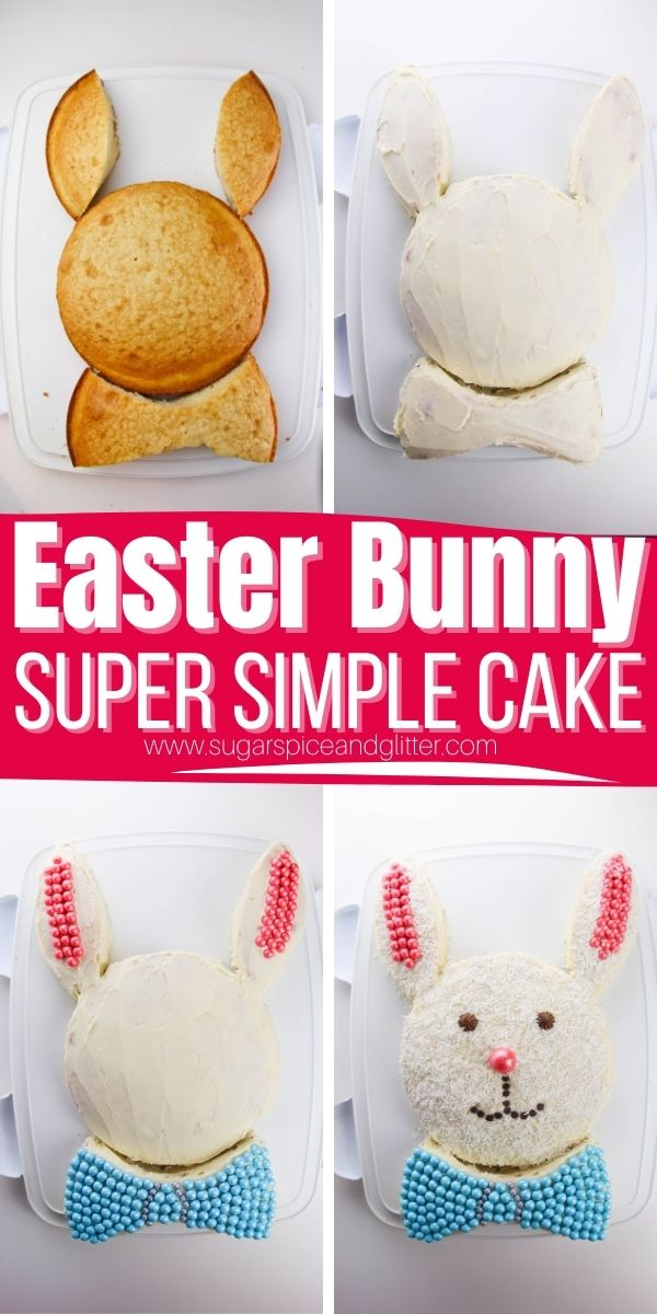 How to make an Easter Bunny Cut-Up Cake, a classic Easter cake with some serious nostalgic vibes. This cake is so incredibly simple and requires no special baking equipment or decorating skills. The kids can even help make this showstopping, cute Easter dessert