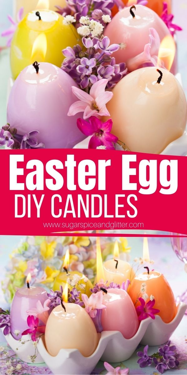 How to make Easter Egg Candles using soy wax flakes and hollowed out eggshells. A super simple candle making tutorial perfect for beginners - and you can customize the colors and scents to best suit your Easter decor