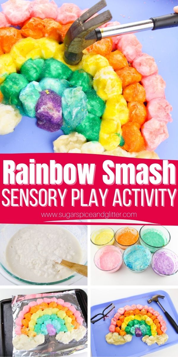 How to make a baked cotton ball rainbow for a smashing sensory play activity for kids. A fun sensory activity for kids, perfect for Spring or St Patrick's Day. Kids get to use a real hammer to smash a baked cotton ball rainbow, for a crunchy, satisfying sensory experience.