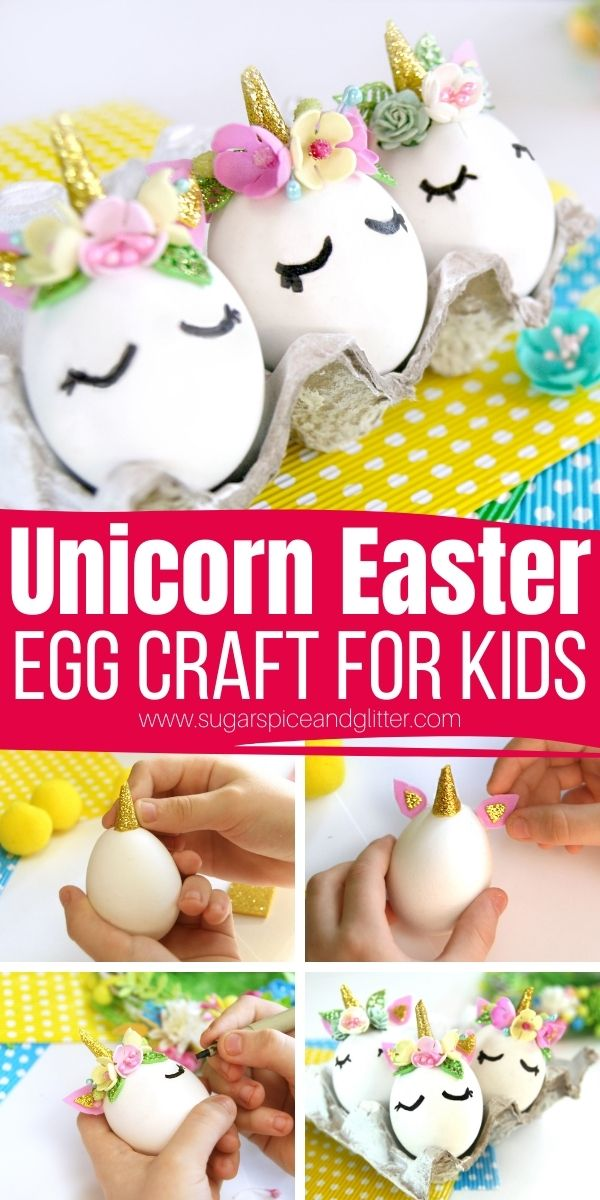 How to make Unicorn Easter Eggs - a 15-minute Easter craft using everyday craft supplies and craft eggs to make a magical addition to your Easter decor. Display as-is or add to an Easter wreath or attach a magnet for a fun twist.