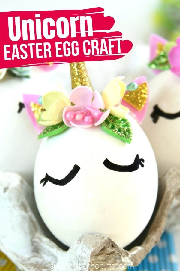 An easy and magical way to decorate Easter eggs with kids, these Unicorn Easter Eggs come together quickly with a few everyday crafting supplies and make a whimsical addition to your Easter decor.