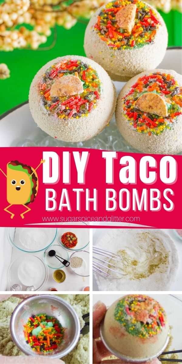 A step-by-step tutorial for how to make the cutest Taco Bath Bombs, a unique bath bomb gift for the taco aficionado in your life