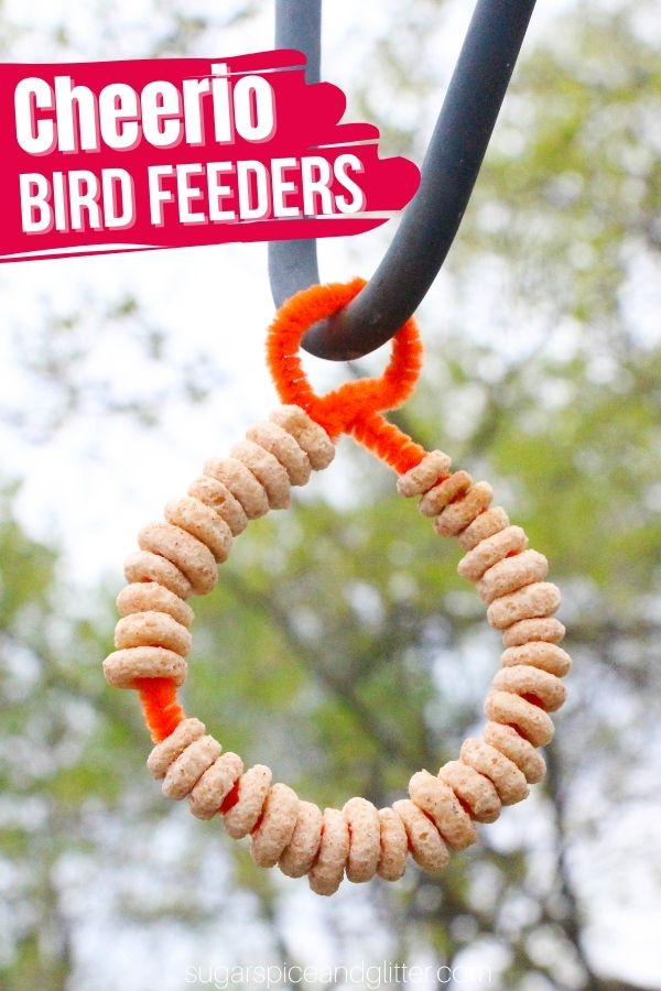 This Cheerio Bird Feeder craft is a super simple bird feeder even the littlest kids can make. Add dried fruits and make your pipe cleaner into different shapes to customize this easy bird feeder