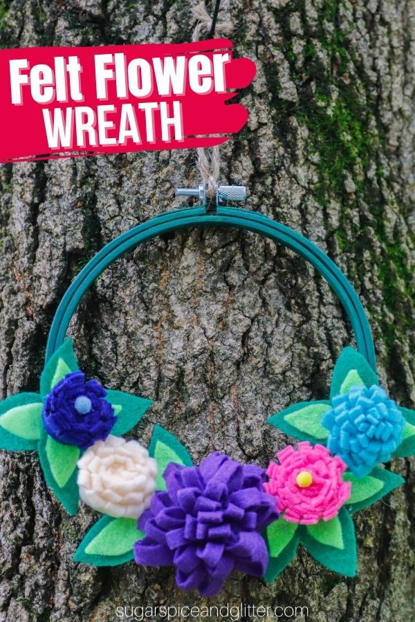 A cute addition to a playroom or fairy garden, this no-sew Felt Flower Wreath is super simple to make and can be customized to any color palette you'd like!