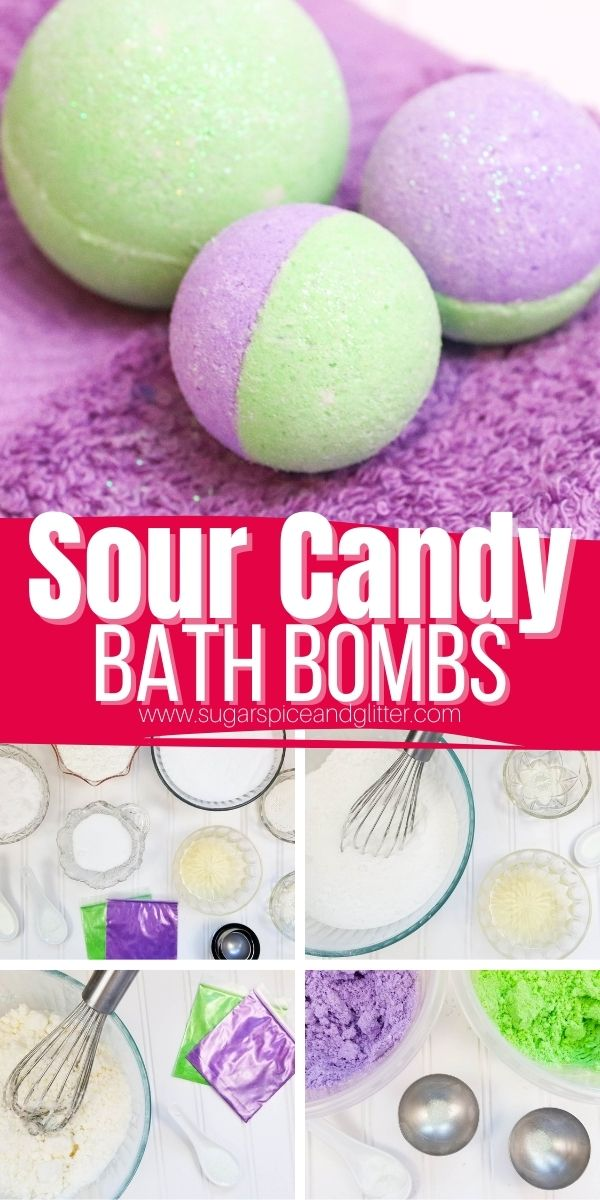 How to make Sour Candy Bath Bombs, a fun slumber party craft or a unique gift for a sour patch kids fan! These Sour Candy Bath Bombs smell mouth-watering when dissolved in a warm bath, for a yummy treat that smells good enough to eat!