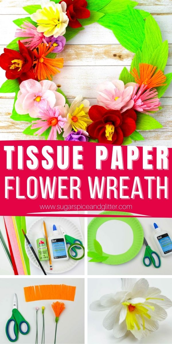 How to make these super simple tissue paper flowers using our free printable flower template. These gorgeous tissue paper flowers can be used to make a variety of DIY decor items, including our simple tissue paper flower wreath