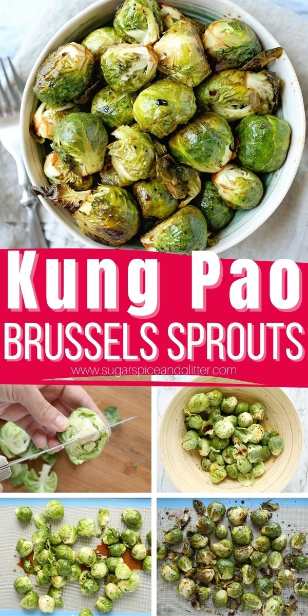 How to make these super simple Kung Pao Brussel Sprouts - crispy on the outside and tender on the inside with a sweet, tangy and nutty flavor profile. This simple roasted brussels sprouts recipe comes together in less than 10 minutes before a quick roast in the oven