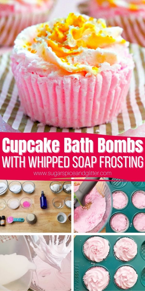 How to make cupcake bath bombs with a whipped soap frosting. Ours used a raspberry and pink champagne scent for a luxurious, celebratory treat but you can customize these to any scrumptious scent or color combination that you'd like
