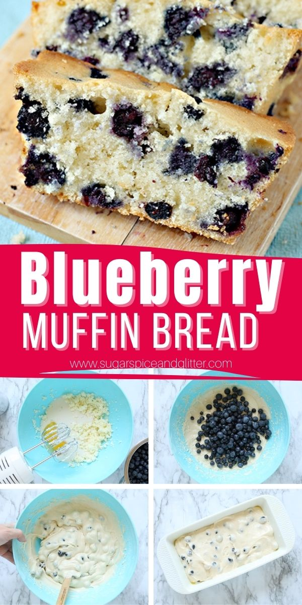 A super quick and easy recipe for the best blueberry bread ever! This blueberry muffin bread has the light and airy texture of a tender blueberry muffin and a golden, crunchy crust. All of the flavor and texture of blueberry muffins without having to scrub out a muffin tin!