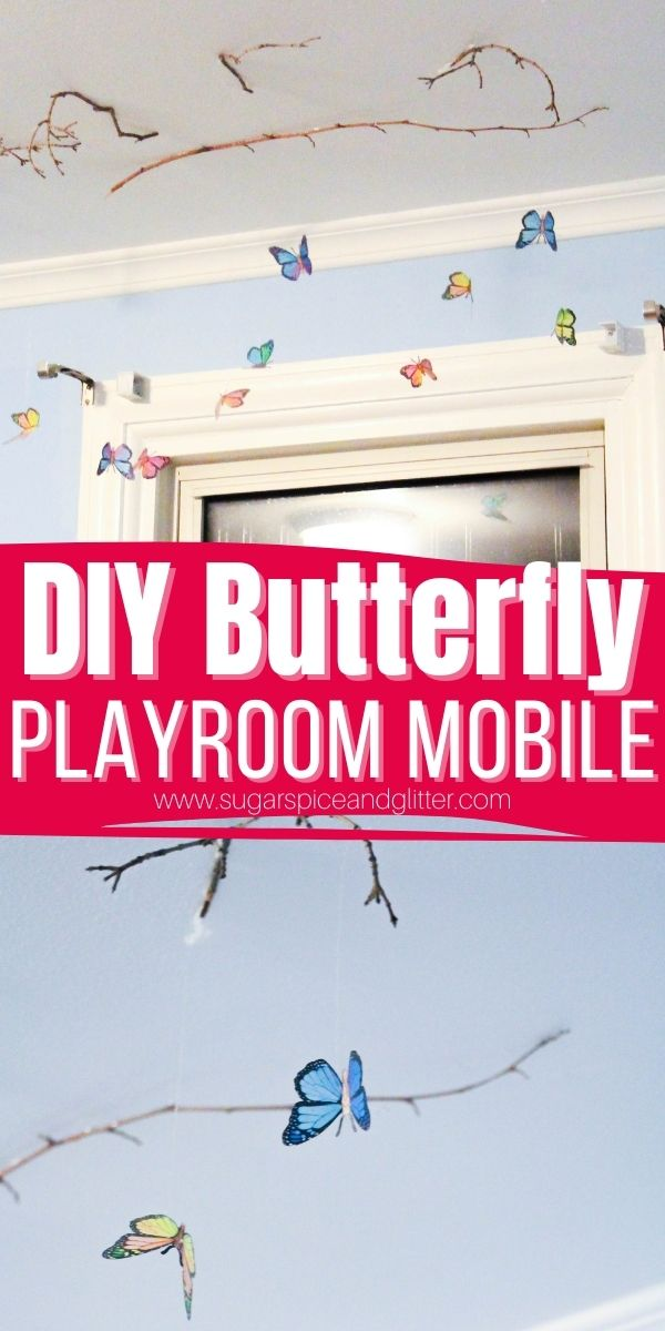 How to make a realistic looking butterfly mobile for your child's playroom. This magical mobile seems to float and fly in the breeze, adding whimsy and fun to your play space