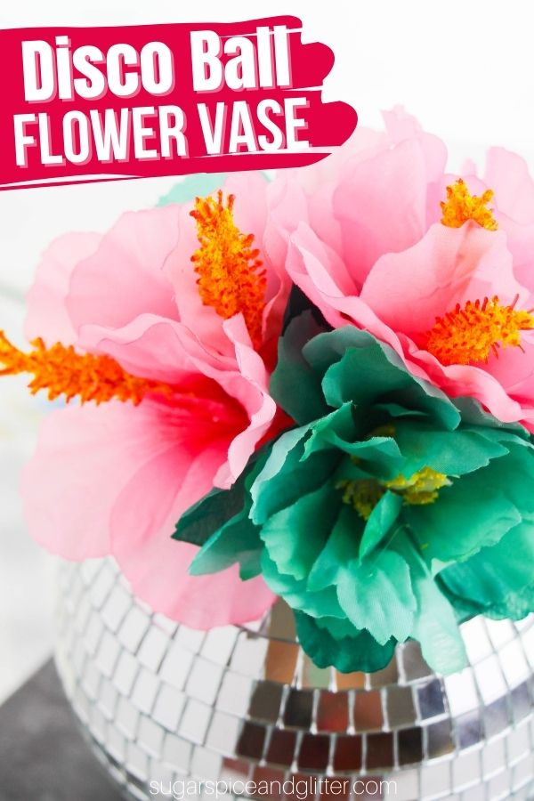A fun way to upcycle a disco ball ornament, this Disco Ball Flower Vase adds a pop of color to your home or makes fun Mother's Day gift for the playful mom