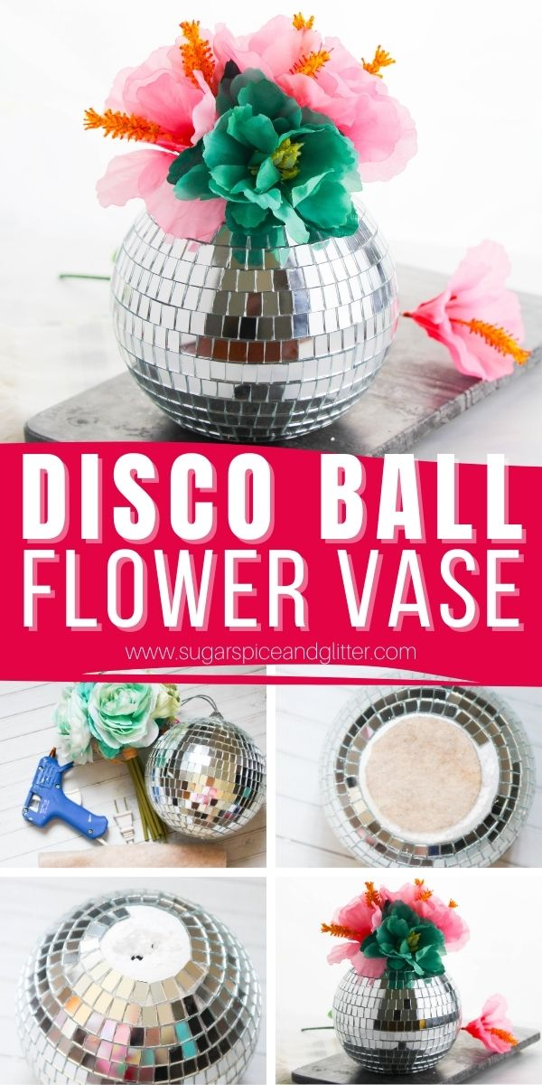 How to make a flower vase (for real or fake flowers) using a disco ball! This disco ball flower vase is a fun way to add some personality to your home decor or makes a playful gift idea!