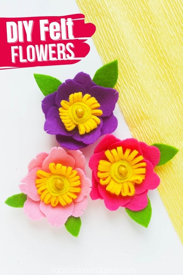 An easy step-by-step tutorial for felt flowers. You can add these flowers to a variety of crafts for a customized embellishment - headbands, magnets, picture frames, etc.