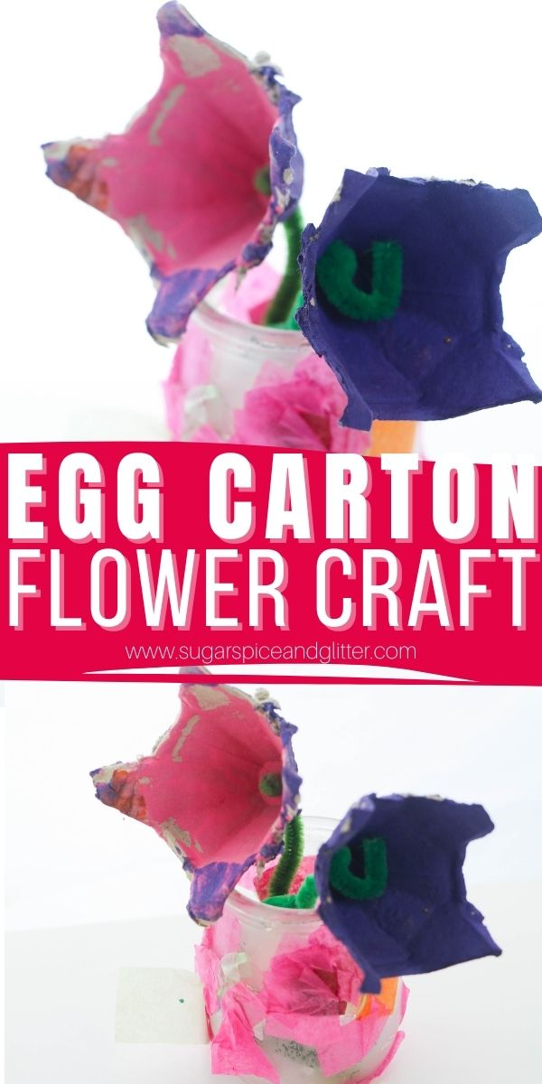 How to make egg carton flowers using leftover recycled materials - a great Mother's Day craft for kids or a thoughtful teacher appreciation gift kids can make