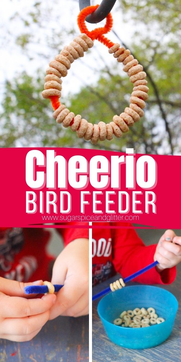 A quick and easy bird feeder kids can make with supplies you probably already have! A great fine motor activity for kids and a way for them to show kindness to their feathered friends