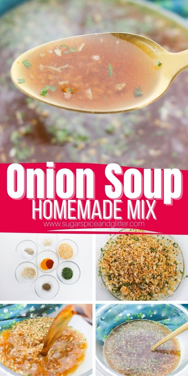 How to make a from-scratch onion soup mix for the perfect cup of onion soup whenever you need it! Just combine a tablespoon of the mix with beef broth for a quick cup - perfect for a simple side dish or adding to your favorite recipes
