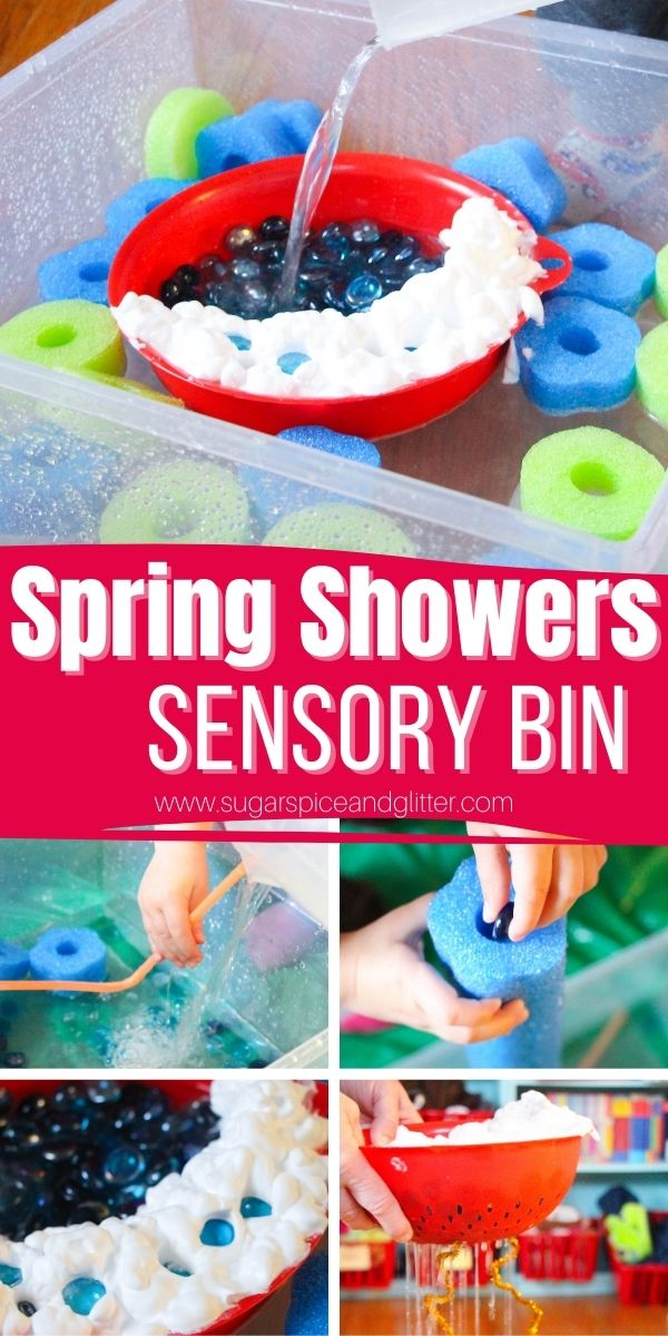 The perfect weather sensory bin for a rainy day - this rain sensory bin allows children to explore a variety of concepts while having fun and building fine motor skills.