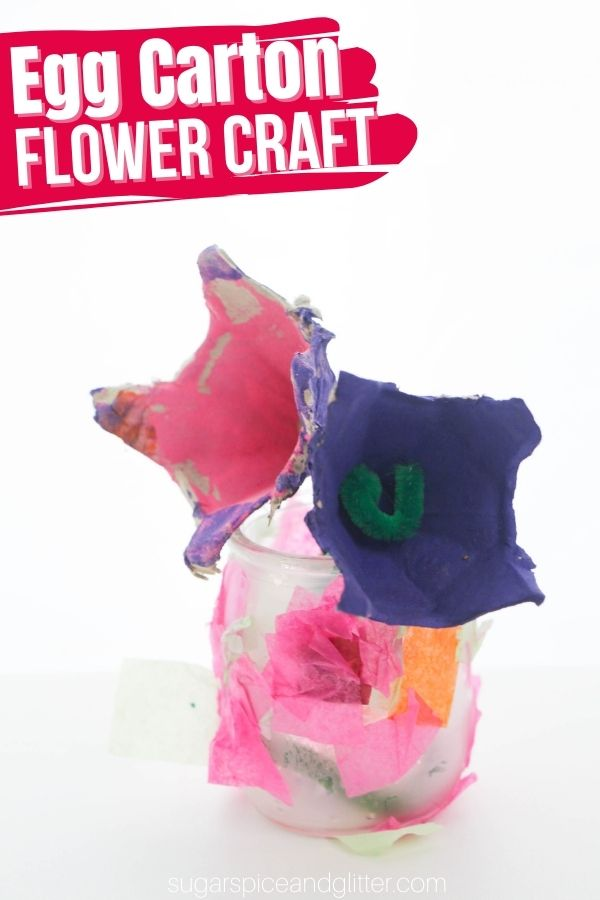 A super simple flower craft for kids using recycled materials, these Egg Carton Flowers are a cute gift idea for kids to make for Mother's Day or a teacher appreciation gift