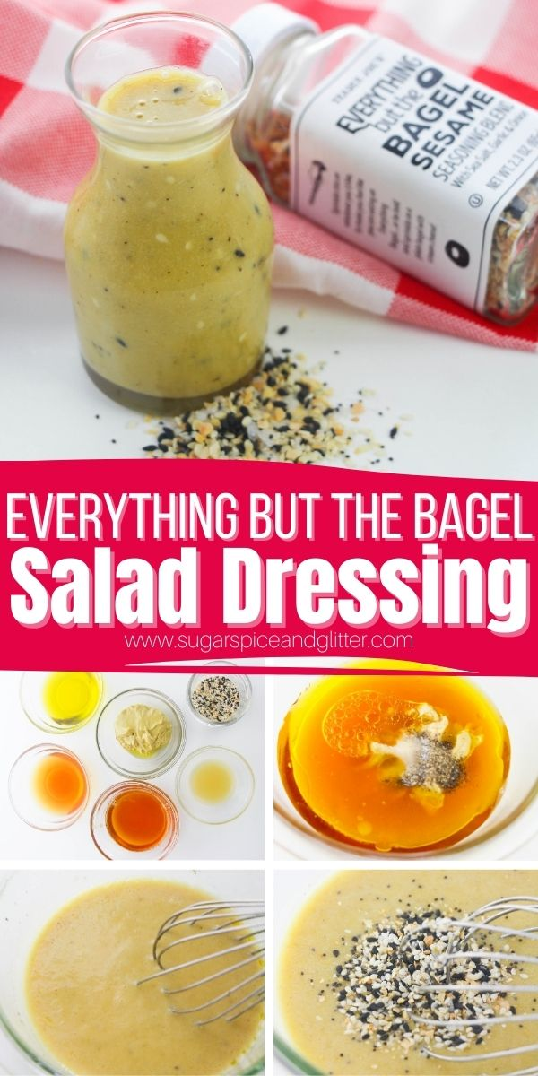How to make Everything Bagel Salad Dressing - a delicious sweet and tangy salad dressing for everything but the bagel seasoning fans. Add some serious flavor to your favorite salads with this quick 10-minute homemade salad dressing recipe