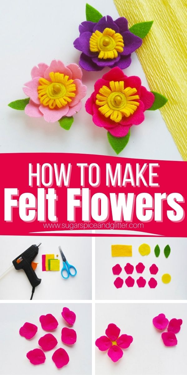 These pretty no-sew Felt Flowers are super simple to make thanks to our free printable felt flower template and can be added to just about anything to give them a customized touch! Add to picture frames, headbands, magnets, etc.