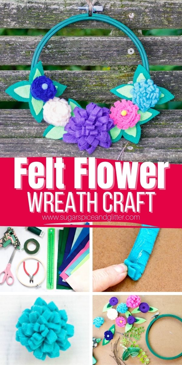 How to make a felt flower wreath using our free felt flower template. This cute felt home decor piece is a fun addition to any room, or you can attach the felt flowers to other projects like picture frames, etc.