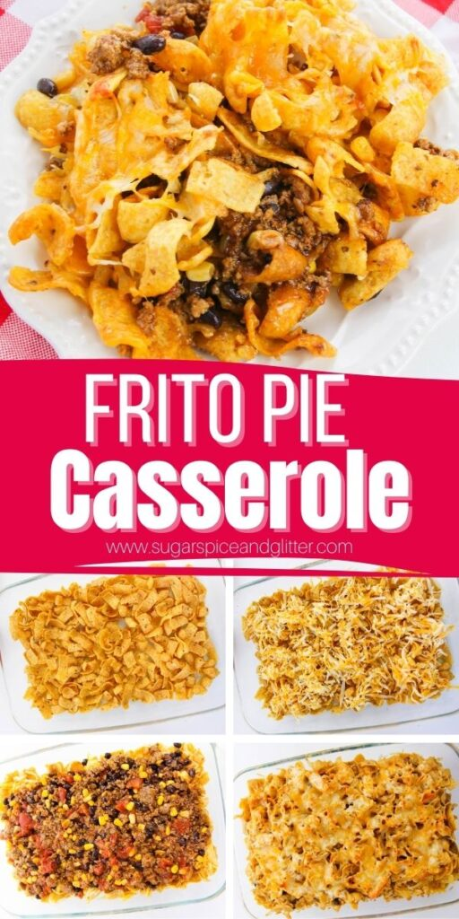 How to make a hearty, cheesy, salty and crunch Frito Pie Casserole - a fun option for Taco Tuesday and way less mess than tacos with kids! This easy frito taco bake can be customized to include your favorite chili ingredients or taco toppings and is also a great option for potlucks or tailgating.