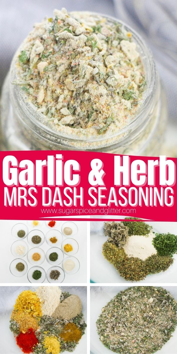 How to make homemade garlic and herb seasoning, a salt-free seasoning blend to bring amazing flavor to your favorite recipes. Similar to Mrs Dash but you can customize the flavor profile of this homemade seasoning blend to contain just the seasoning notes that you like.