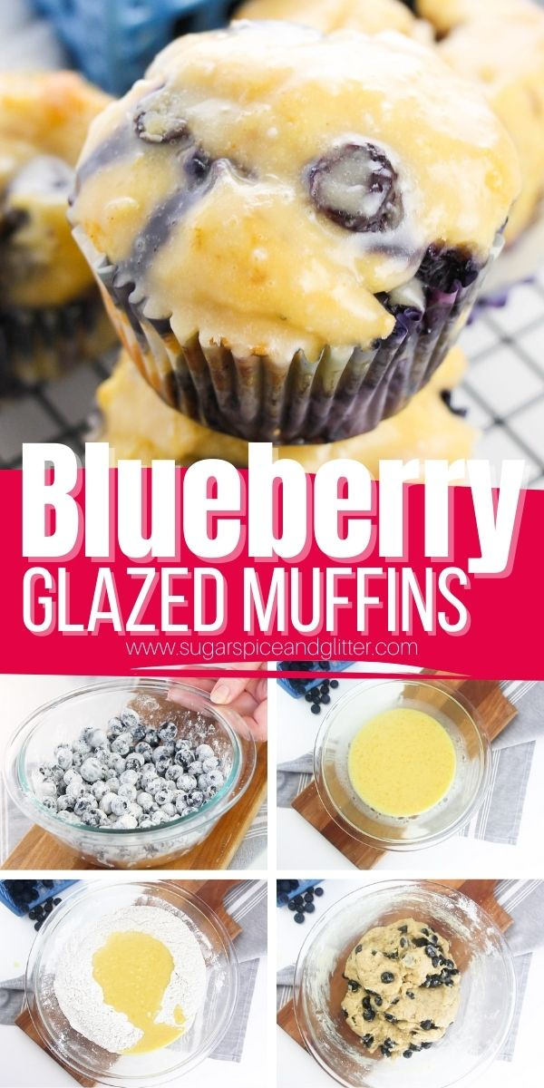 How to make Glazed Blueberry Muffins, scrumptious blueberry buttermilk muffins with a crunchy and sweet lemon glaze (can swap for vanilla glaze). These muffins are super simple for kids to help make and are a perfect sweet treat any time of day!