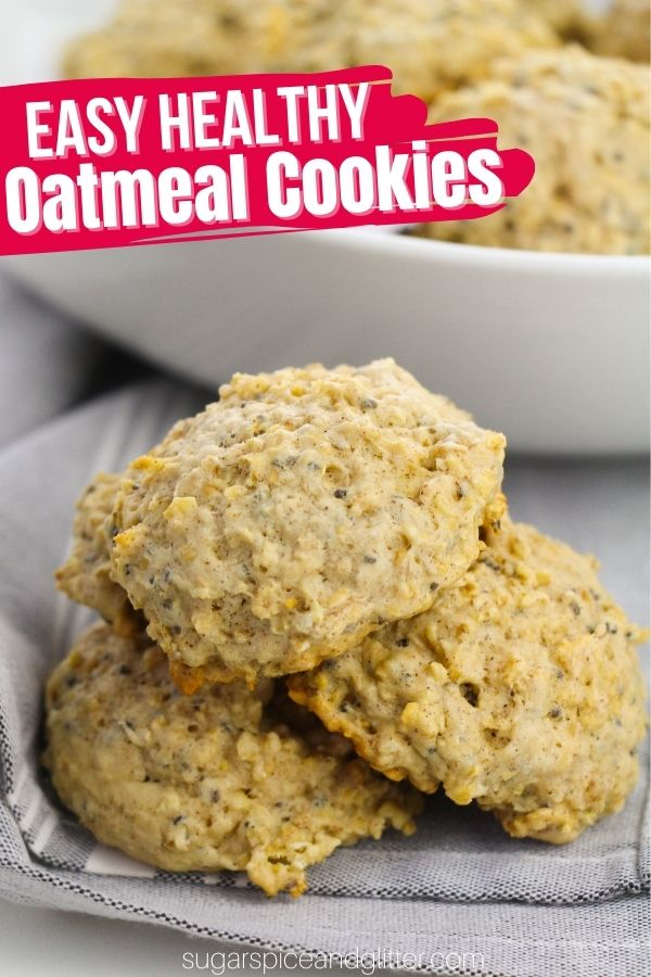 Naturally sweetened, chewy and fluffy oatmeal cookies the whole family will love! These easy healthy oatmeal cookies taste like a treat, but are a sneaky way to add extra fibre, protein and vitamins into your kids' day. Healthy oatmeal cookies make a great on-the-go breakfast or a filling afterschool snack