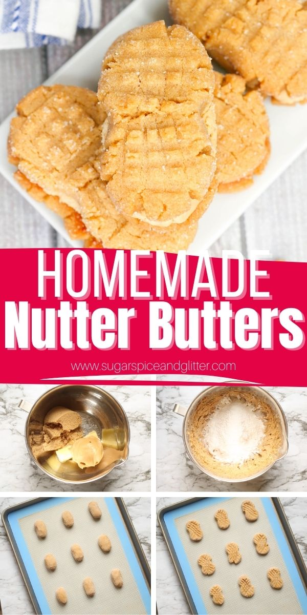 How to make homemade Nutter Butters, a soft, buttery peanut butter sandwich cookie with thick peanut butter frosting. These cookies are super easy to make and have that perfect chewy-crispy texture combination