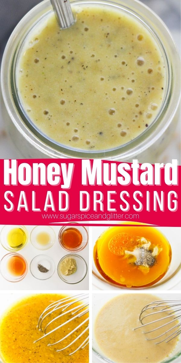 How to make a sweet and tangy honey mustard salad dressing from scratch without any mayonnaise, sugar or thickeners. This honey mustard salad dressing transforms boring salads into decadent, restaurant-quality meals.